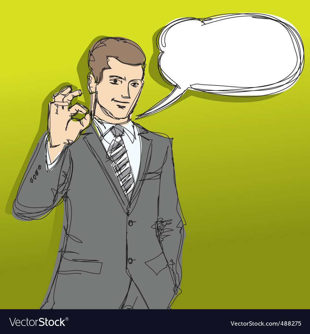 Happy businessman shows ok sketch vector | Price: 3 Credit (USD $3)