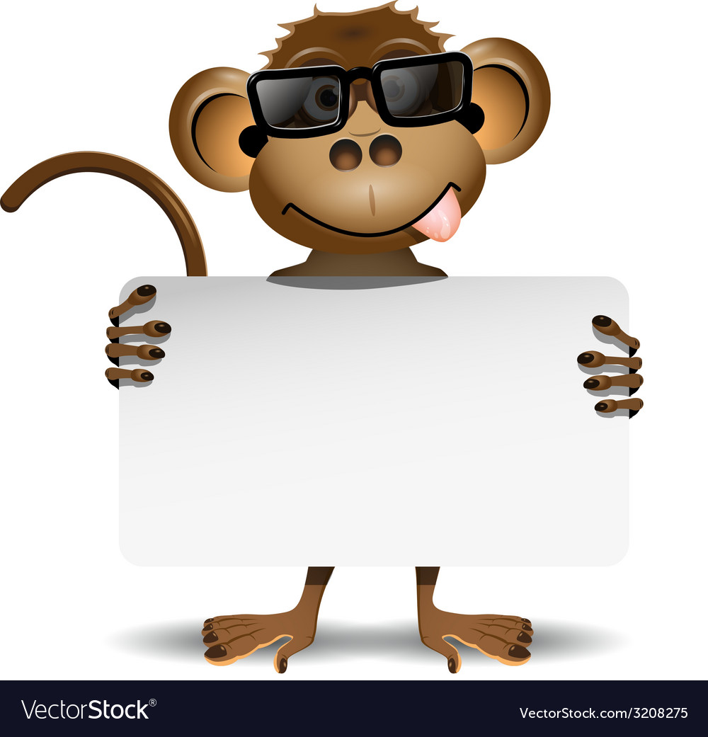 Monkey with sunglasses vector | Price: 1 Credit (USD $1)