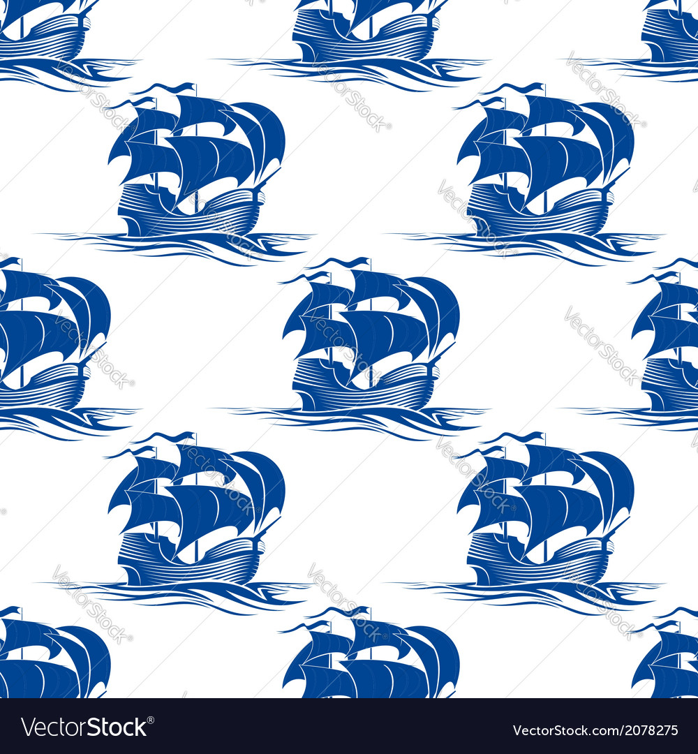 Old schooner sailing ship seamless pattern vector | Price: 1 Credit (USD $1)
