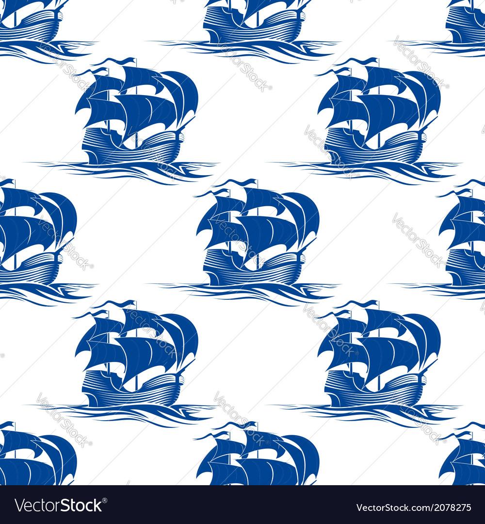 Old schooner sailing ship seamless pattern vector | Price: 1 Credit (USD $1)