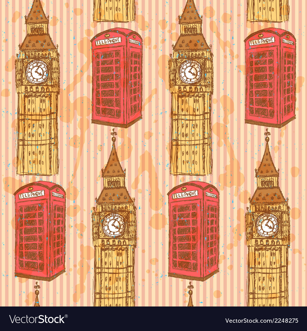 Uk flag phone cabin vector | Price: 1 Credit (USD $1)