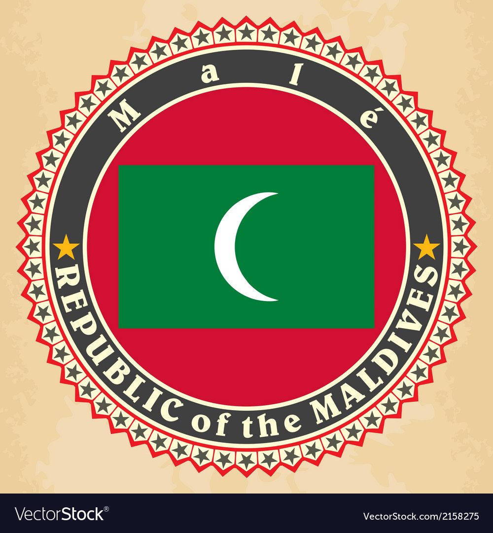 Vintage label cards of maldives flag vector | Price: 1 Credit (USD $1)