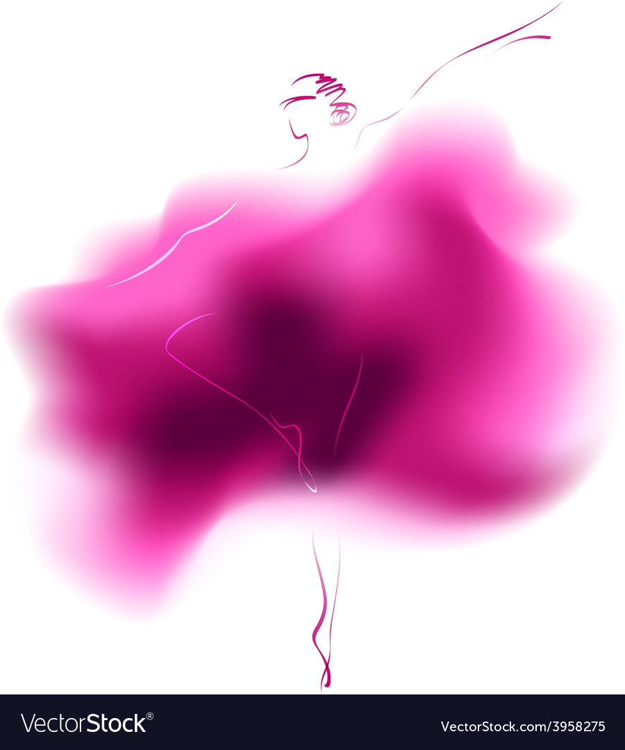 Watercolor sketch of a dancing ballerina vector | Price: 1 Credit (USD $1)
