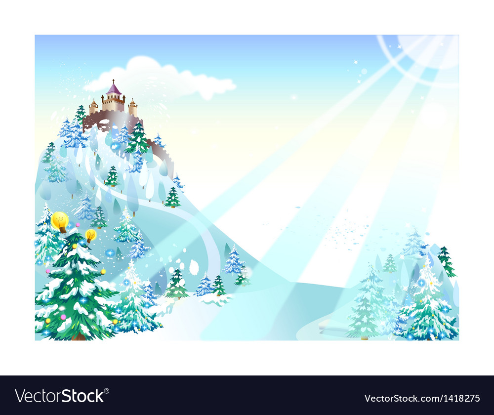 Winter castle background vector | Price: 1 Credit (USD $1)