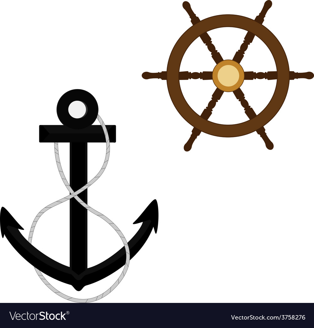 Anchor with rope and wheel vector | Price: 1 Credit (USD $1)
