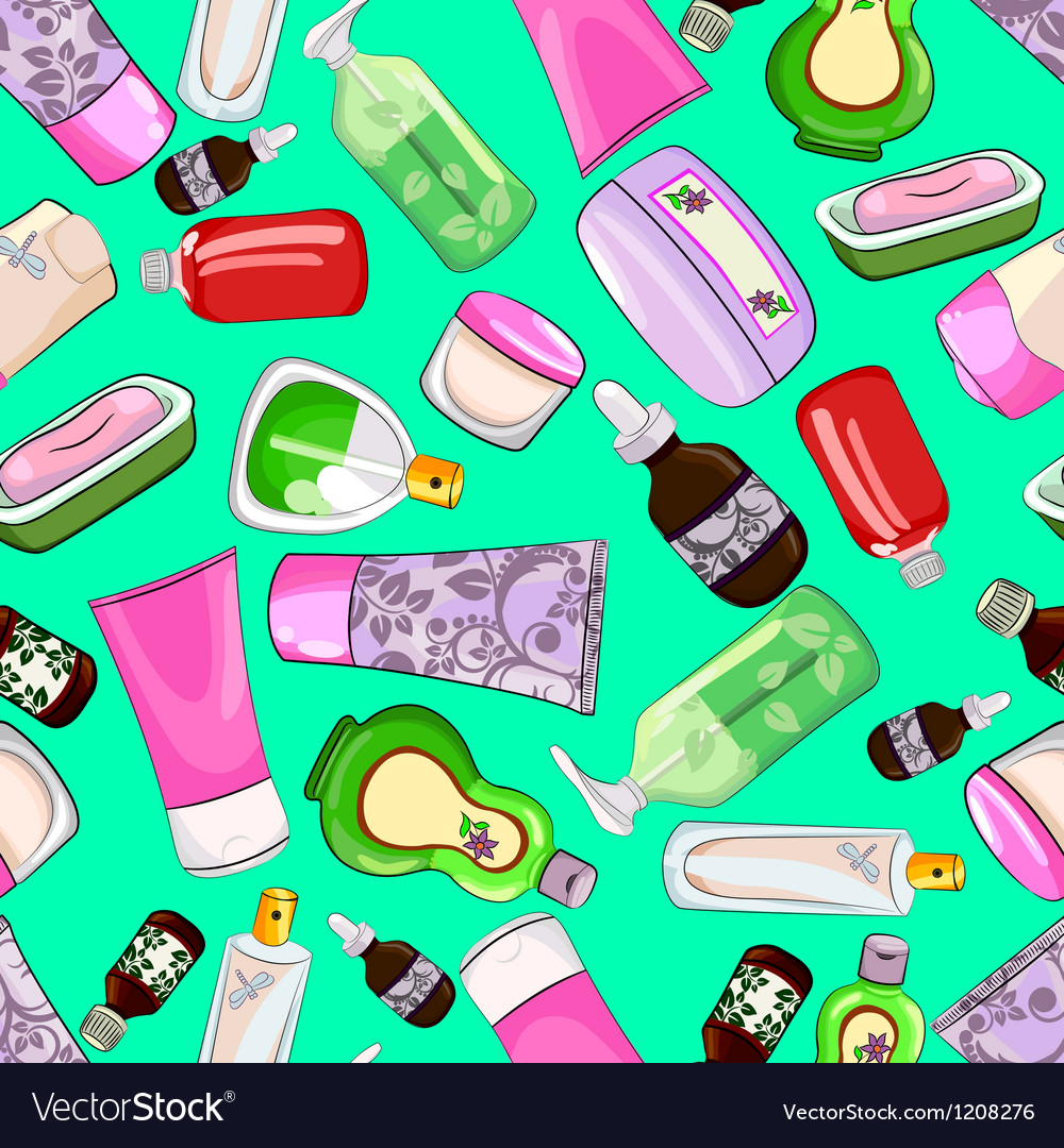Bright seamless pattern with cosmetics vector