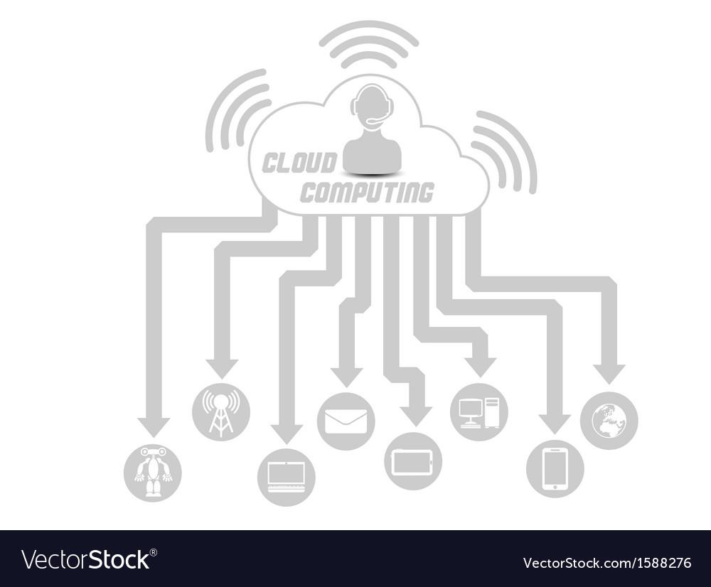 Cloud computing 3 grey vector | Price: 1 Credit (USD $1)