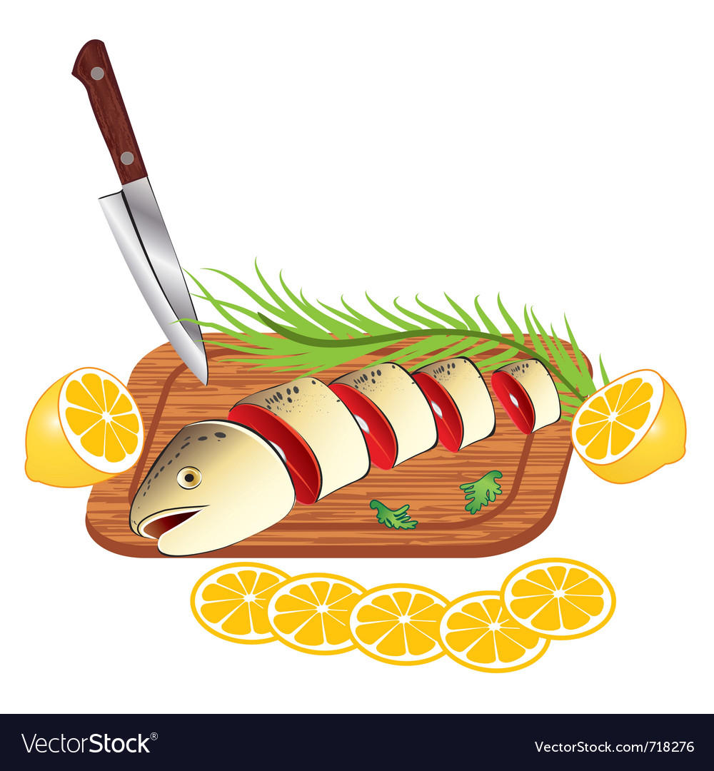 Cooking and cutting fresh fish vector | Price: 3 Credit (USD $3)