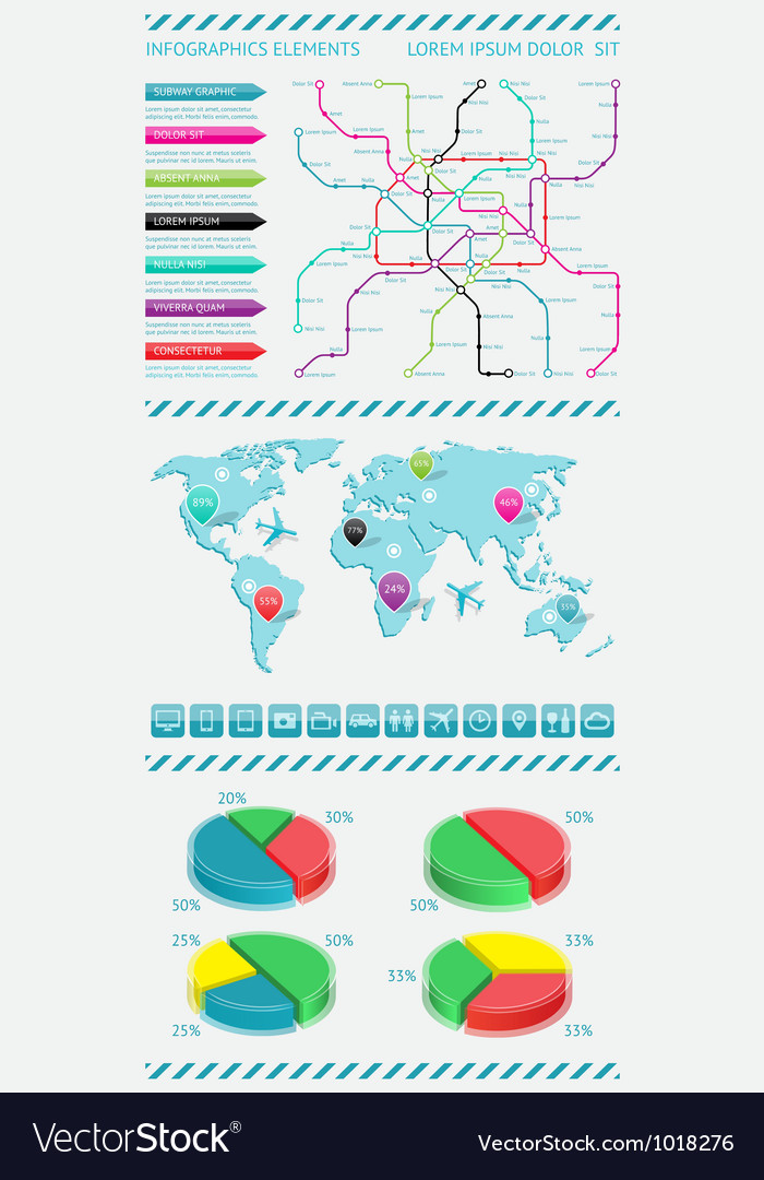 Infographics elements with world map vector | Price: 3 Credit (USD $3)