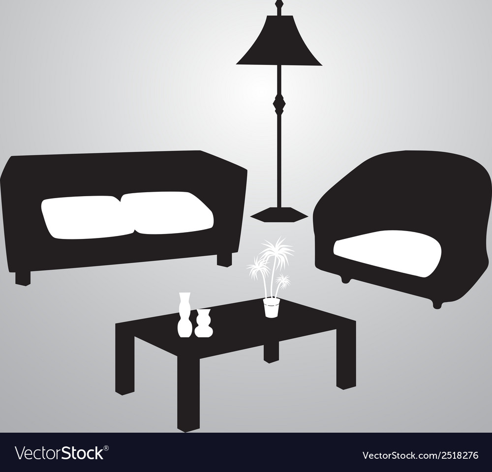 Living room black and white eps10 vector | Price: 1 Credit (USD $1)