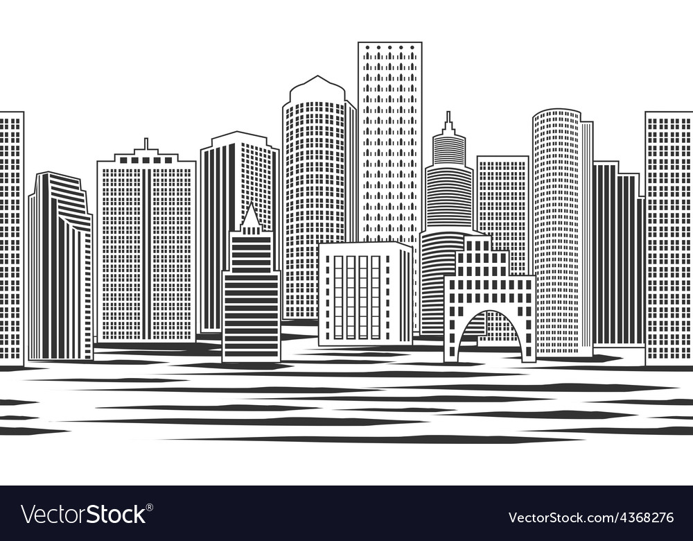 Seamless cityscape vector | Price: 1 Credit (USD $1)