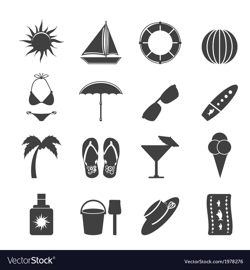 Summer and holiday icons vector | Price: 1 Credit (USD $1)