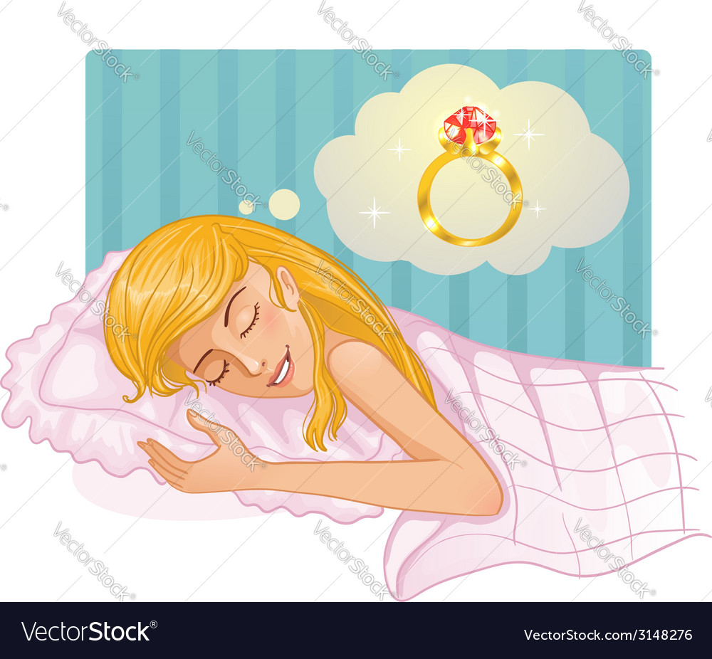Young beautiful girl dreaming about a ring in the vector | Price: 1 Credit (USD $1)