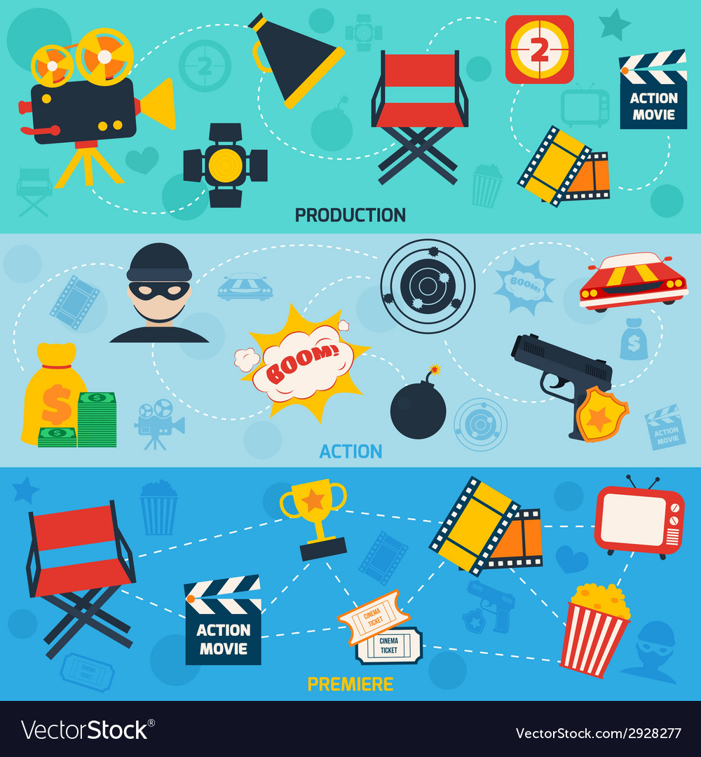 Action movie line banners vector