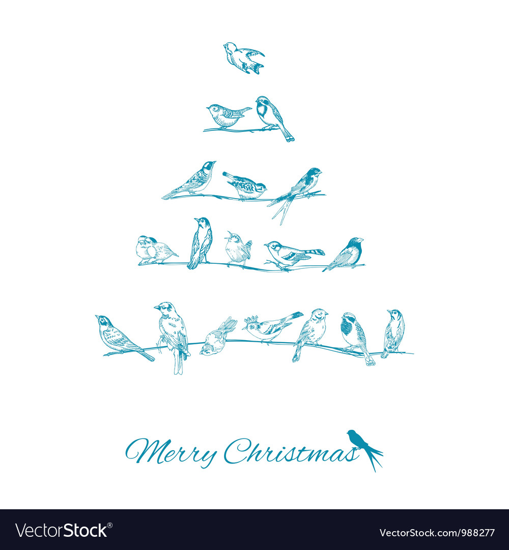 Christmas card - birds on christmas tree vector | Price: 1 Credit (USD $1)