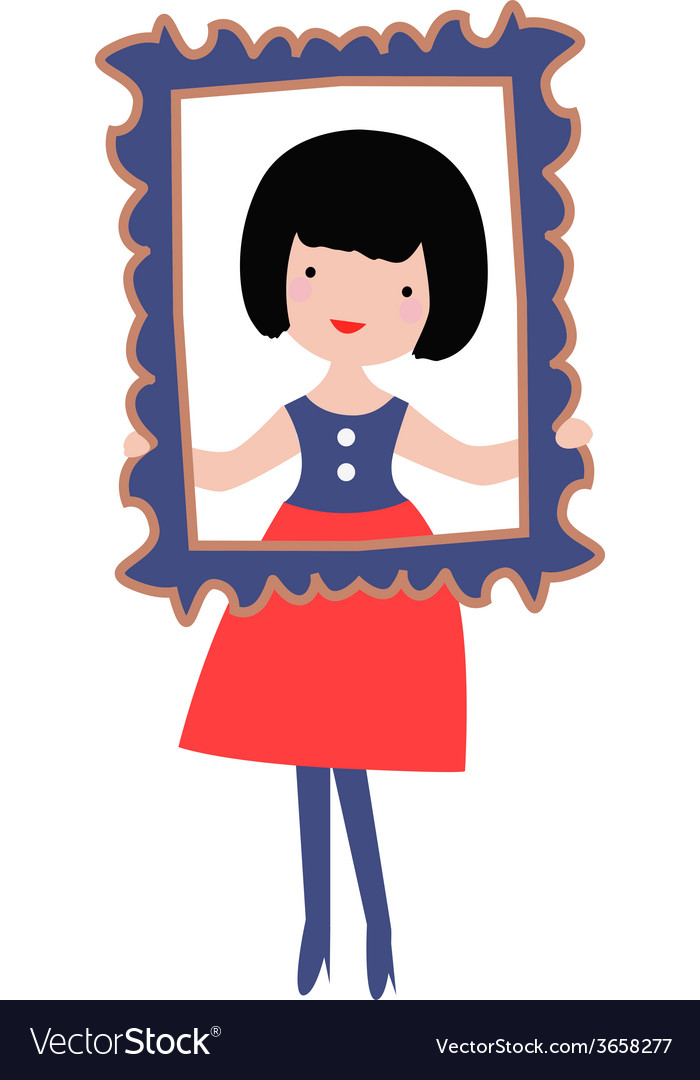 Cute girl with frame vector | Price: 1 Credit (USD $1)