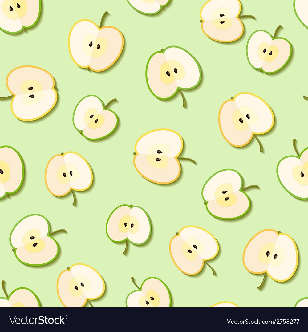 Fresh green organic apples seamless pattern vector | Price: 1 Credit (USD $1)