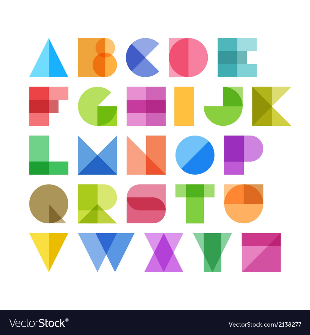 Geometric shapes alphabet letters vector | Price: 1 Credit (USD $1)