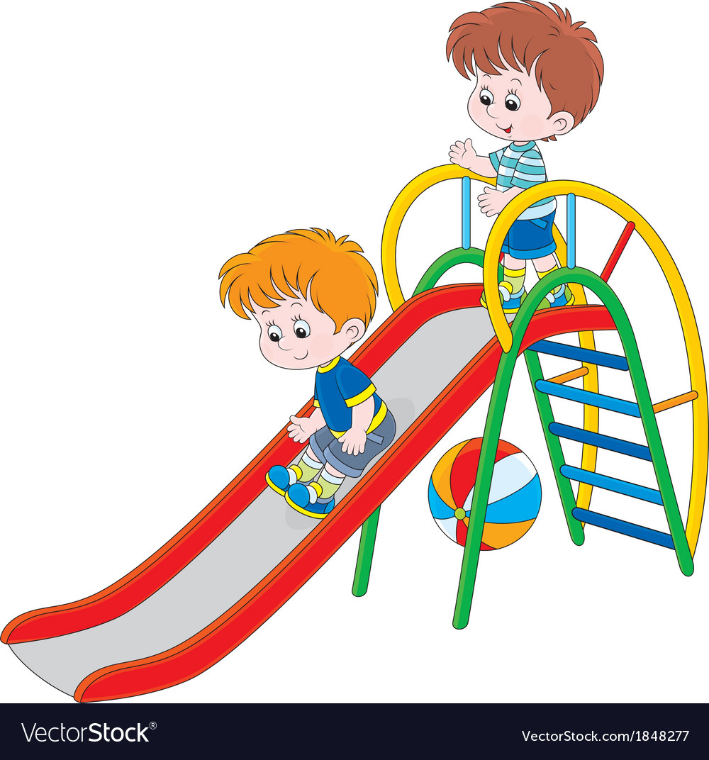 Kids on a slide vector | Price: 1 Credit (USD $1)