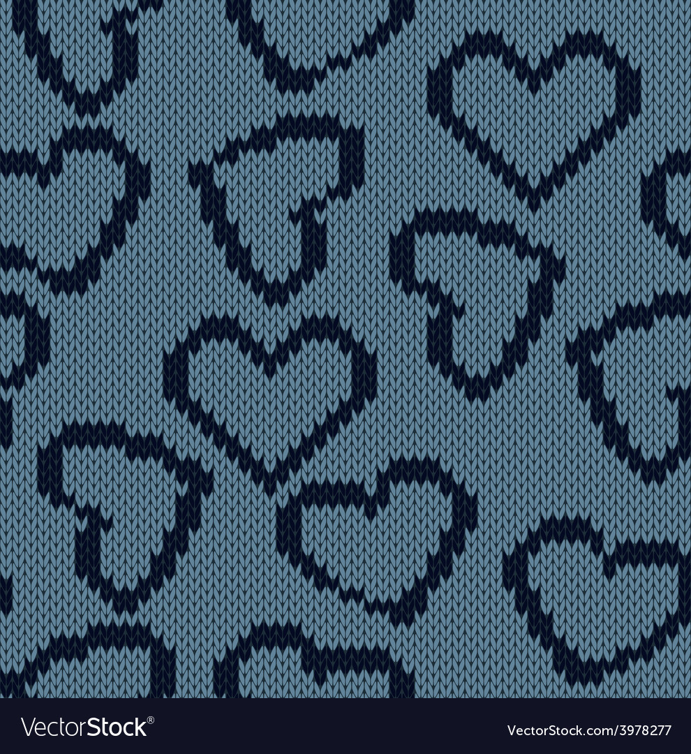 Knitted background with the image of hearts vector | Price: 1 Credit (USD $1)