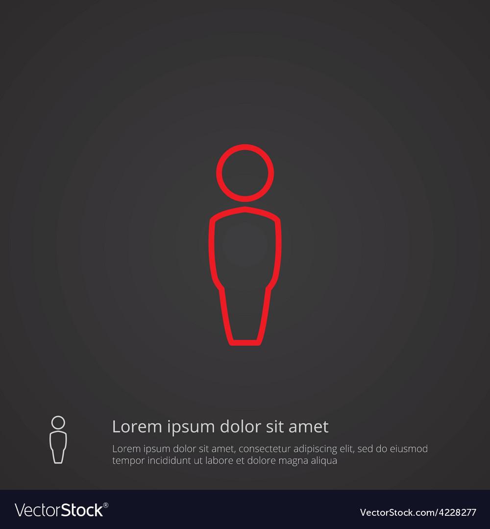 Male outline symbol red on dark background logo vector | Price: 1 Credit (USD $1)