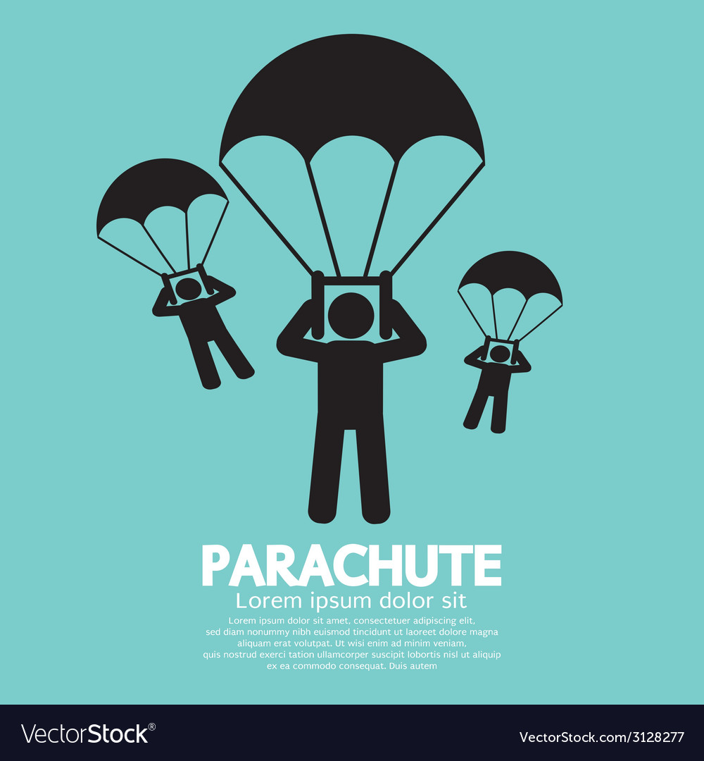 Parachutes skydiving sign vector | Price: 1 Credit (USD $1)