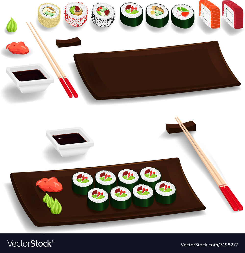 Sushi set vector | Price: 1 Credit (USD $1)