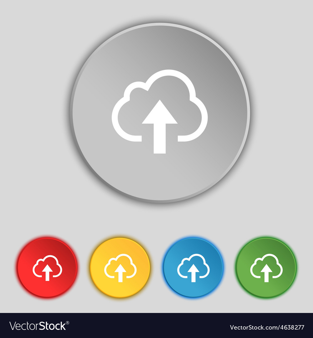 Upload from cloud icon sign symbol on five flat vector | Price: 1 Credit (USD $1)