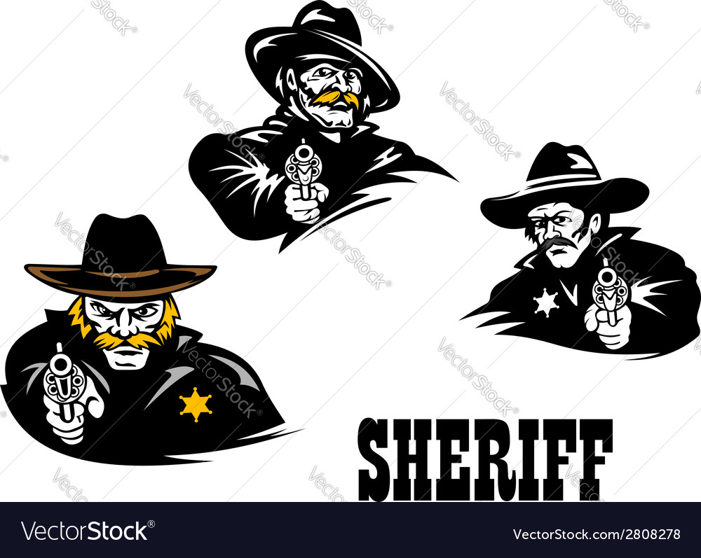 American western sheriff characters set vector | Price: 1 Credit (USD $1)