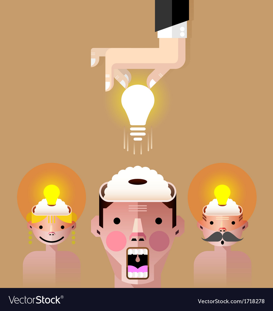 Brain idea light bulb vector | Price: 1 Credit (USD $1)