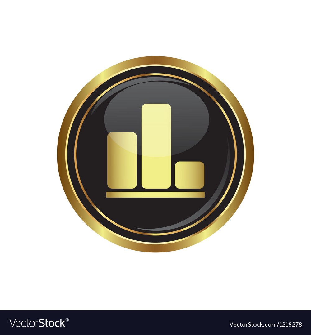 Business graph icon on black with gold button vector | Price: 1 Credit (USD $1)