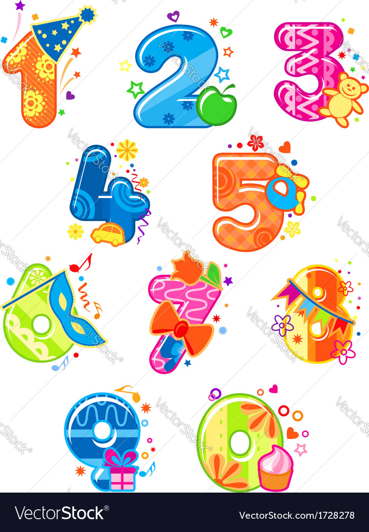 Cartoon digits and numbers with toys vector | Price: 1 Credit (USD $1)