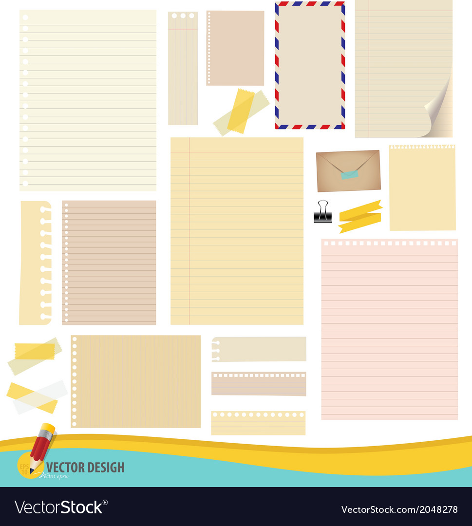 Collection of various note papers ready for your vector | Price: 1 Credit (USD $1)