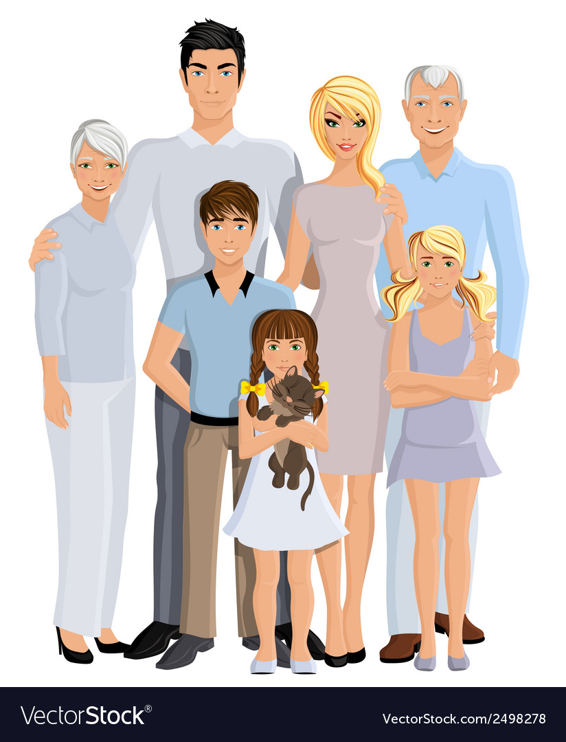 Family generation portrait vector | Price: 1 Credit (USD $1)