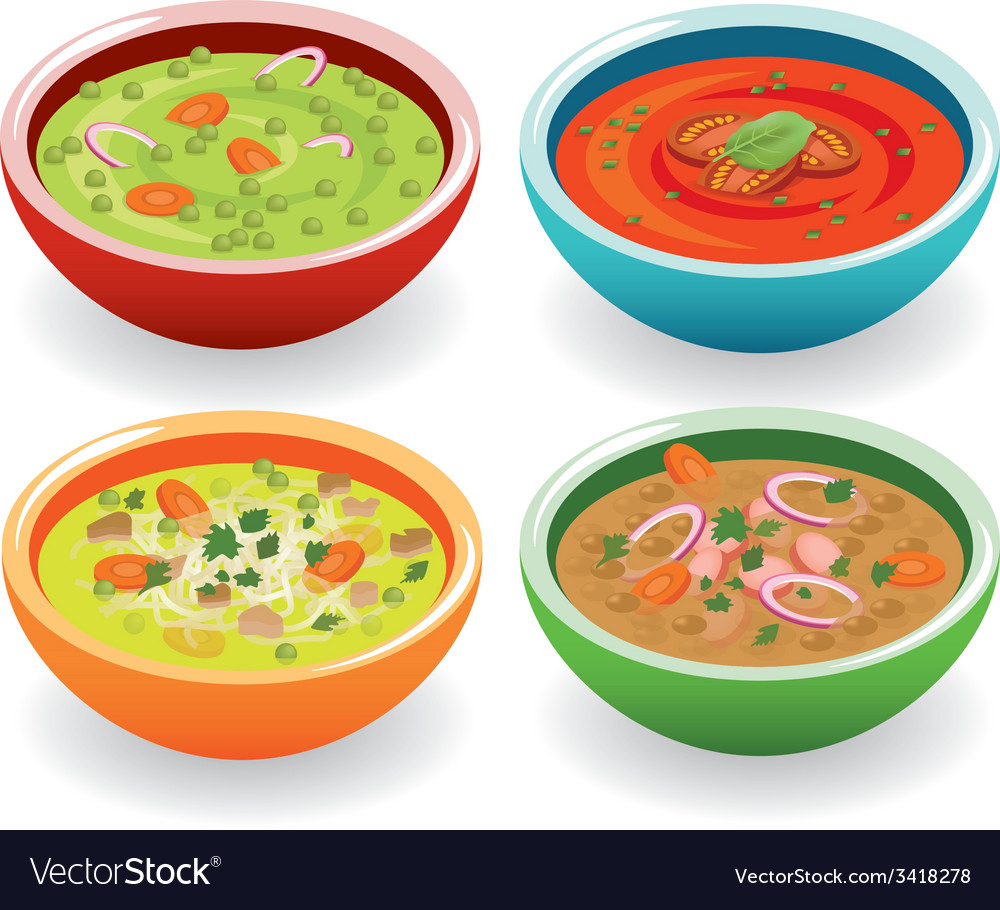 Four soup vector | Price: 1 Credit (USD $1)