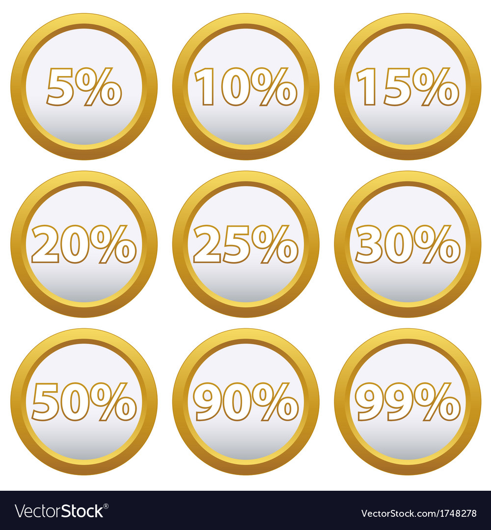 Gold icons with percent vector | Price: 1 Credit (USD $1)