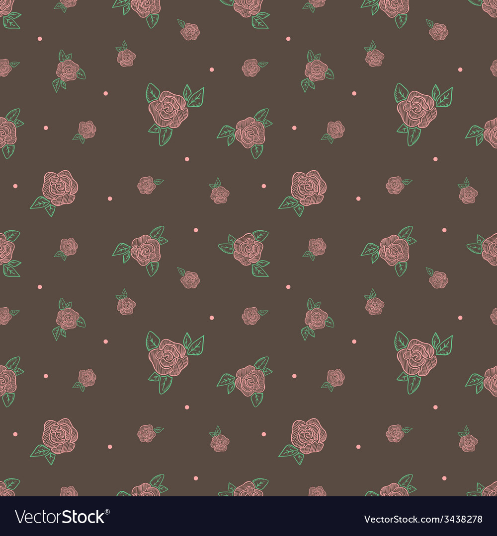 Minimalistic vintage retro rose flowers seamless vector | Price: 1 Credit (USD $1)
