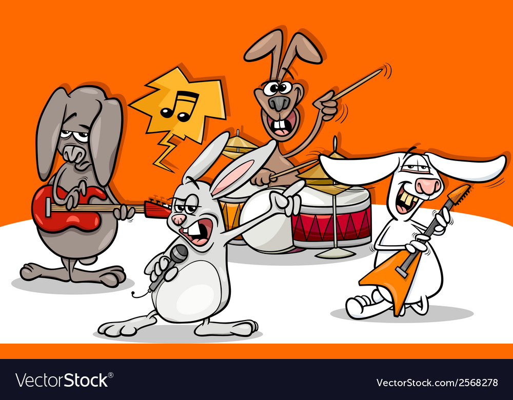 Rabbits rock music band cartoon vector | Price: 1 Credit (USD $1)