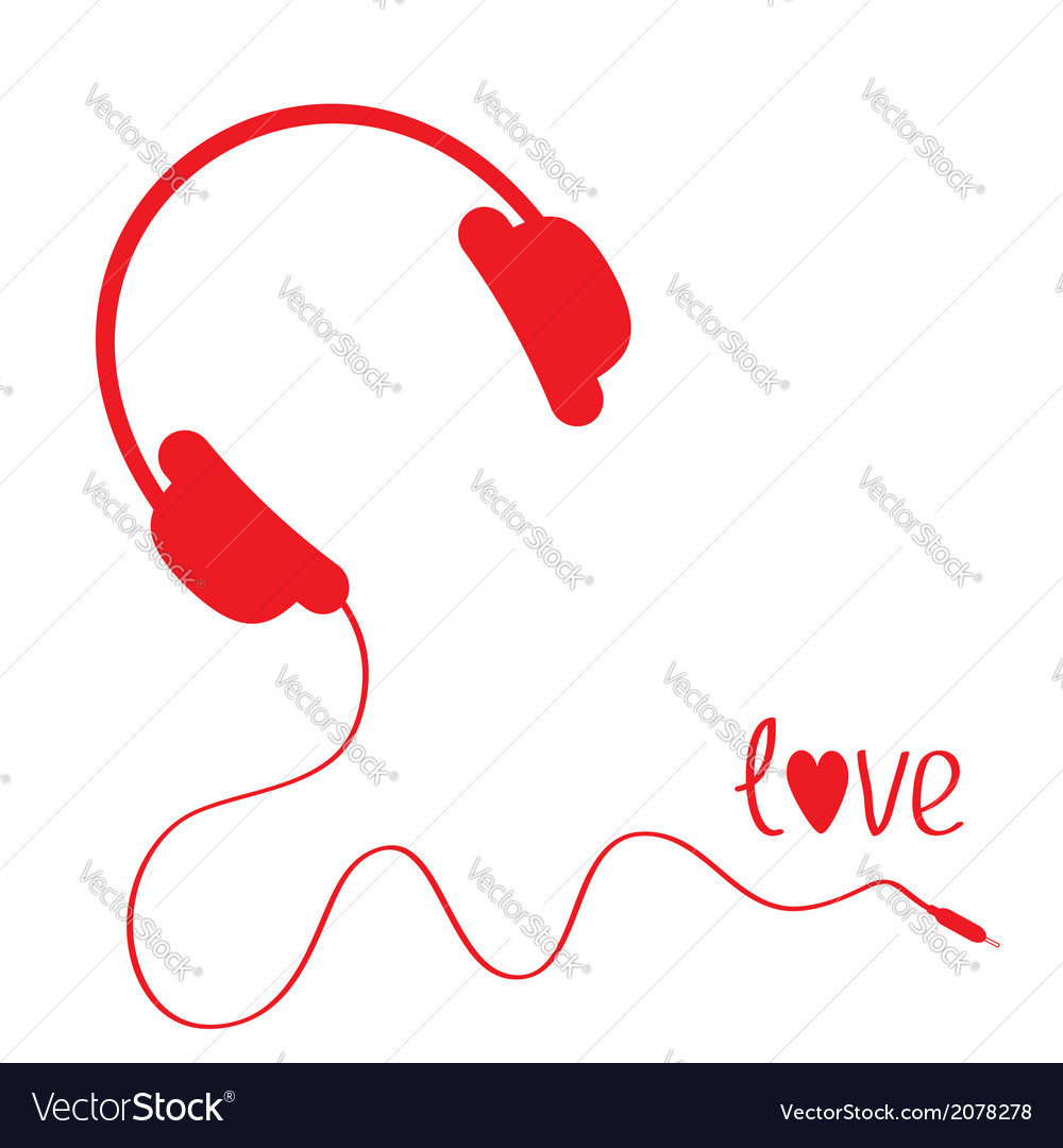 Red headphones with cord white background love vector | Price: 1 Credit (USD $1)