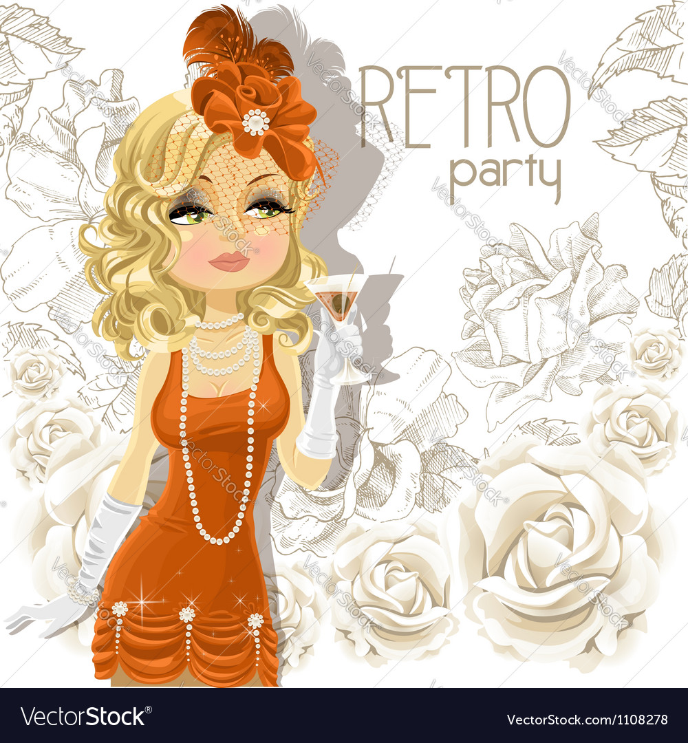 Retro party cute girl background vector | Price: 1 Credit (USD $1)