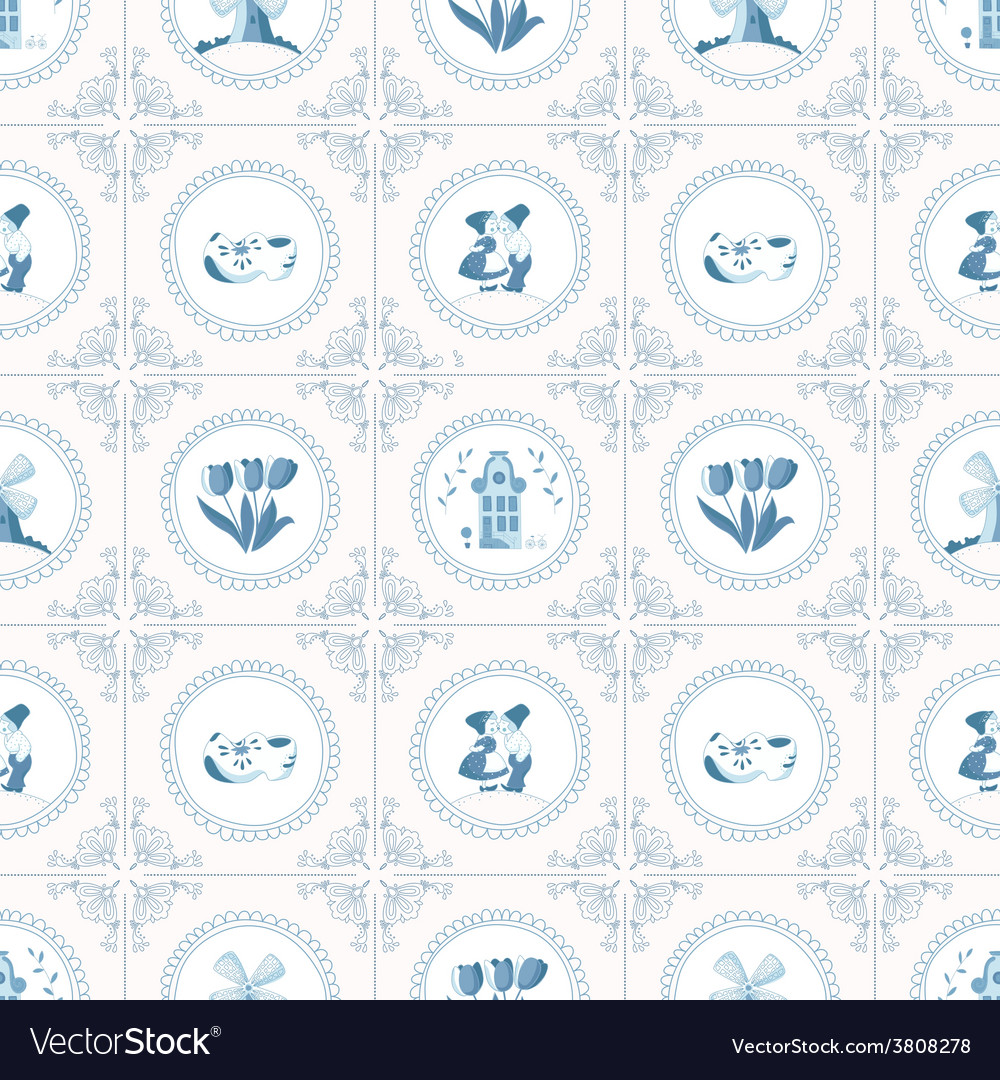Seamless pattern with dutch ornaments deflt blue vector | Price: 1 Credit (USD $1)