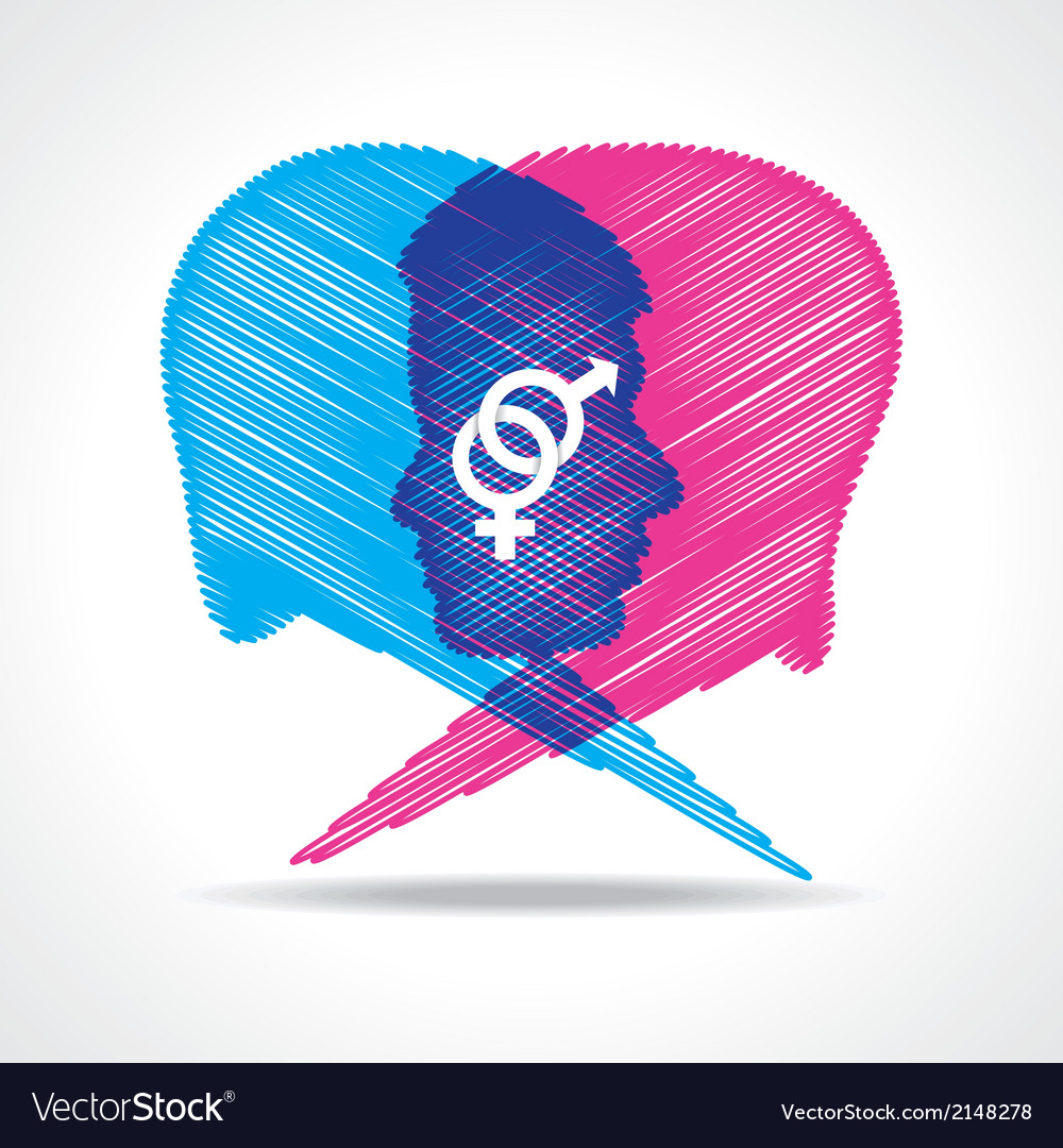 Sketched male and female face make speech bubble vector | Price: 1 Credit (USD $1)