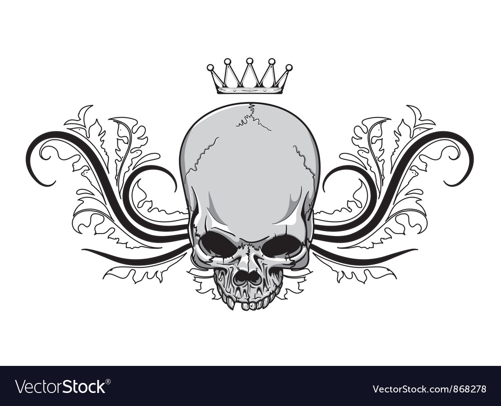Skull with floral vintage t-shirt design vector | Price: 1 Credit (USD $1)