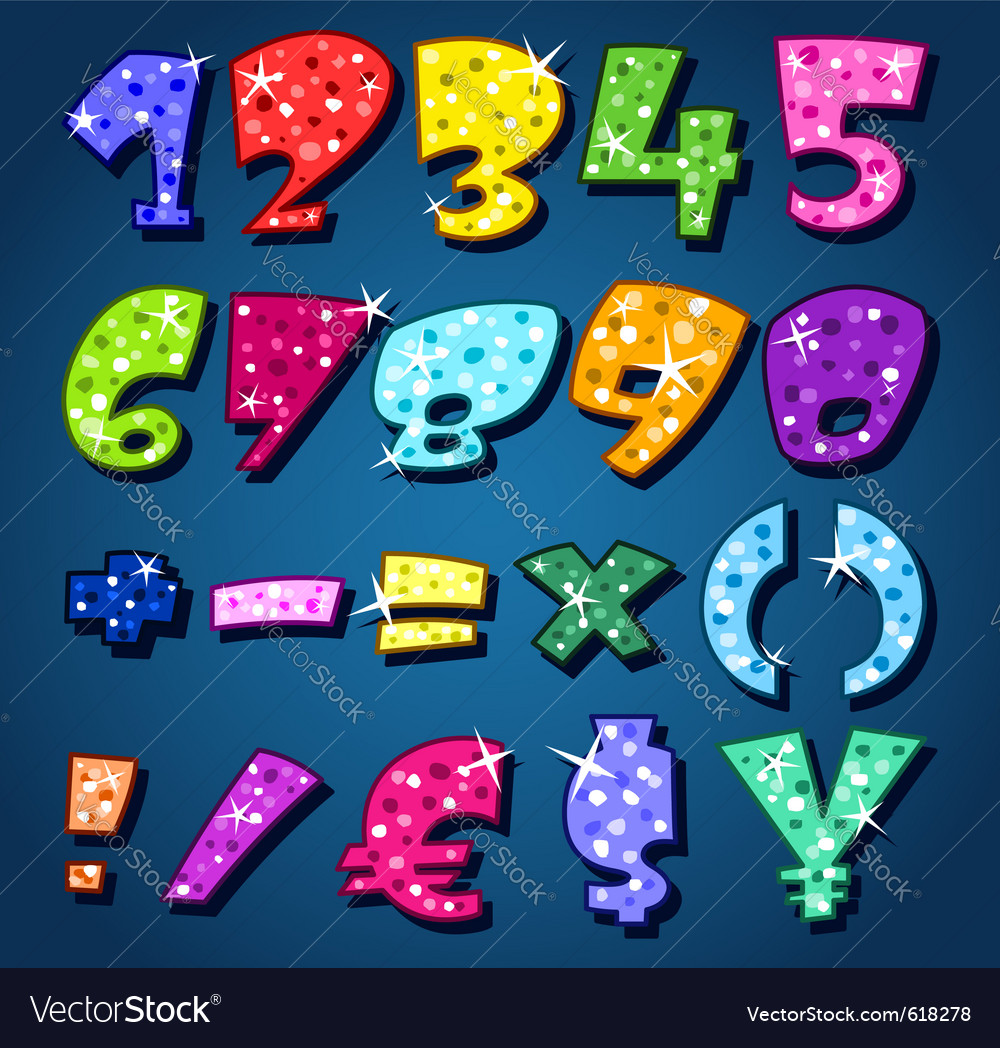 Sparkling numbers vector | Price: 1 Credit (USD $1)