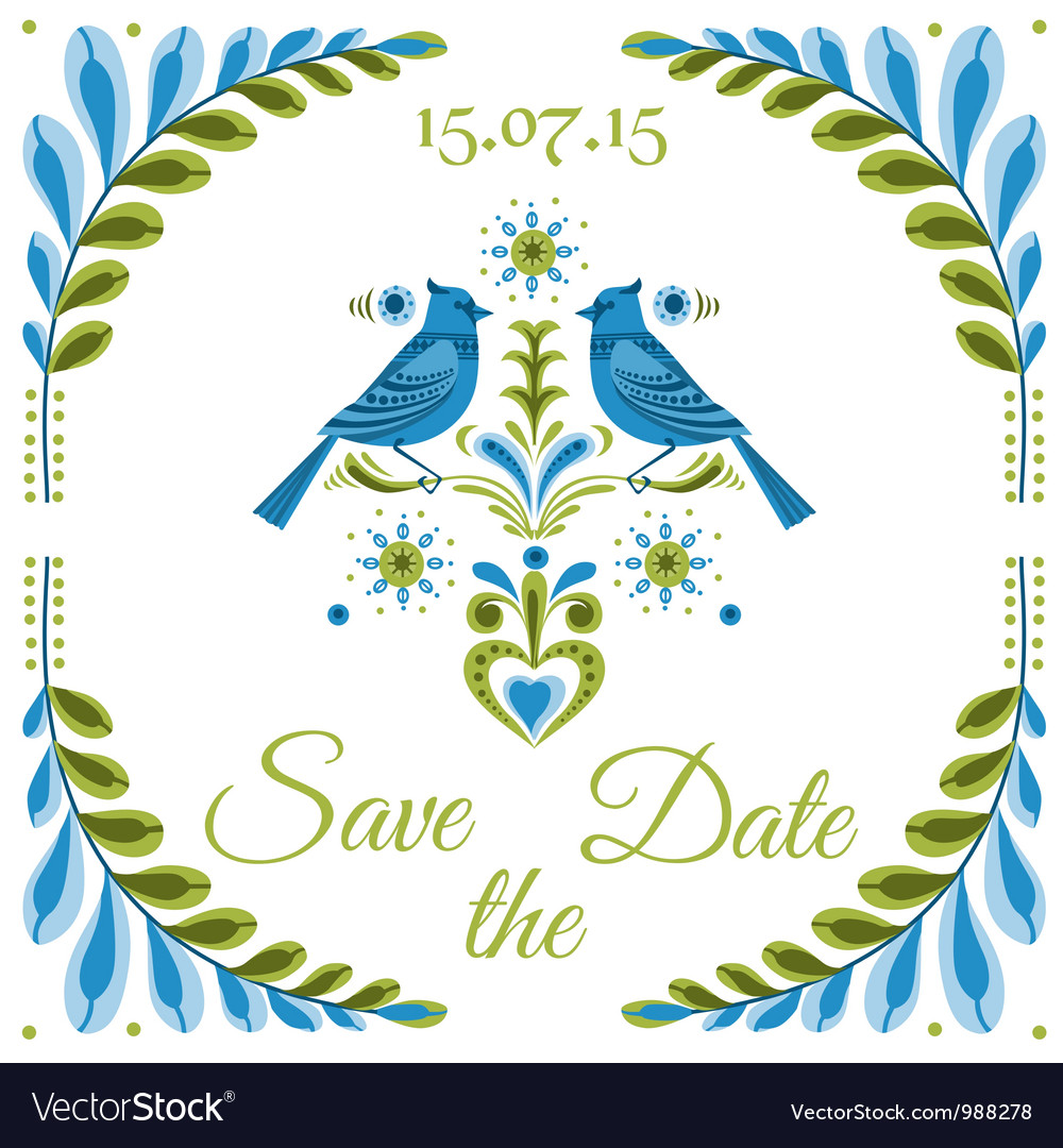 Vintage invitation bird postcard vector | Price: 3 Credit (USD $3)