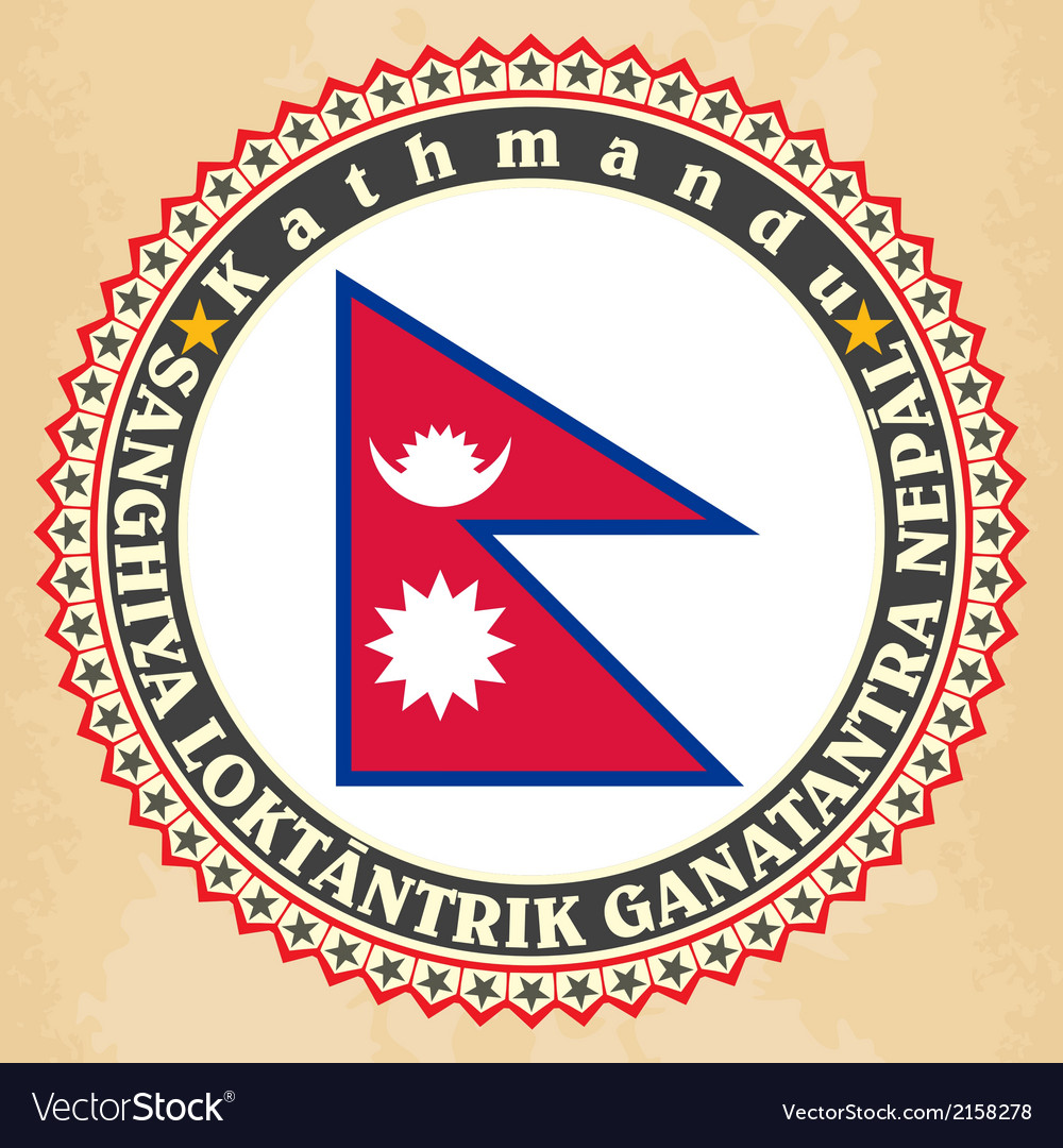 Vintage label cards of nepal flag vector | Price: 1 Credit (USD $1)