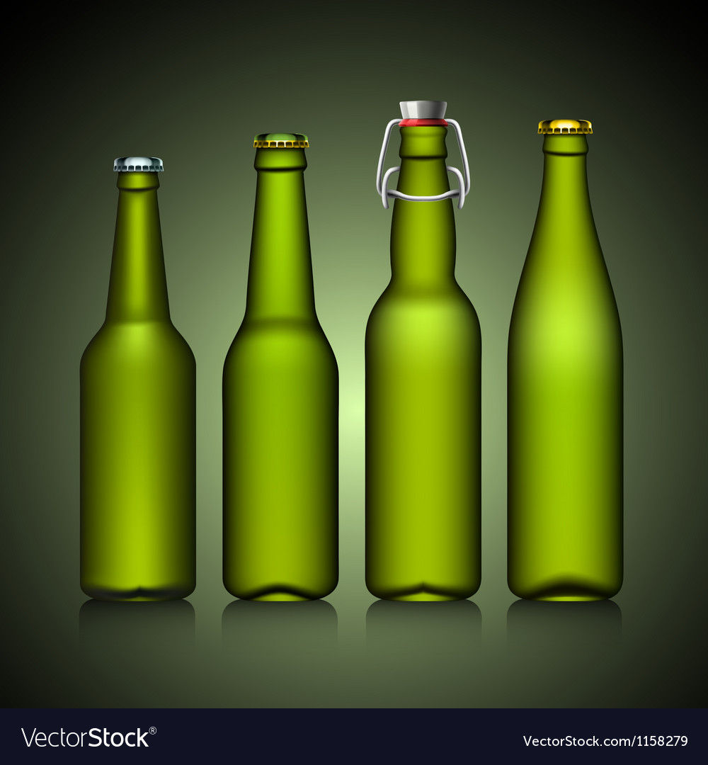 Beer bottle clear set with no label green glass vector | Price: 1 Credit (USD $1)