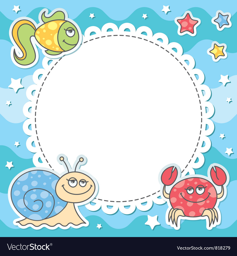 Card with sea creatures vector | Price: 1 Credit (USD $1)