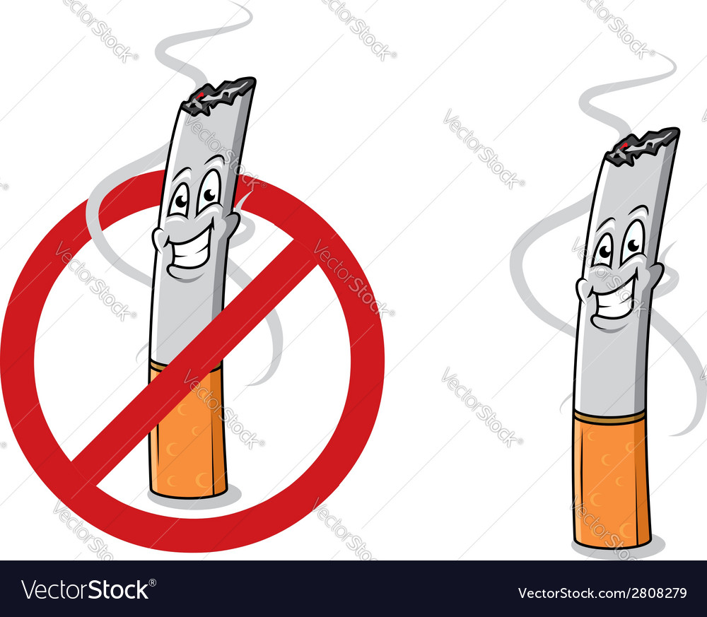 Cartoon happy cigarette butt vector | Price: 1 Credit (USD $1)