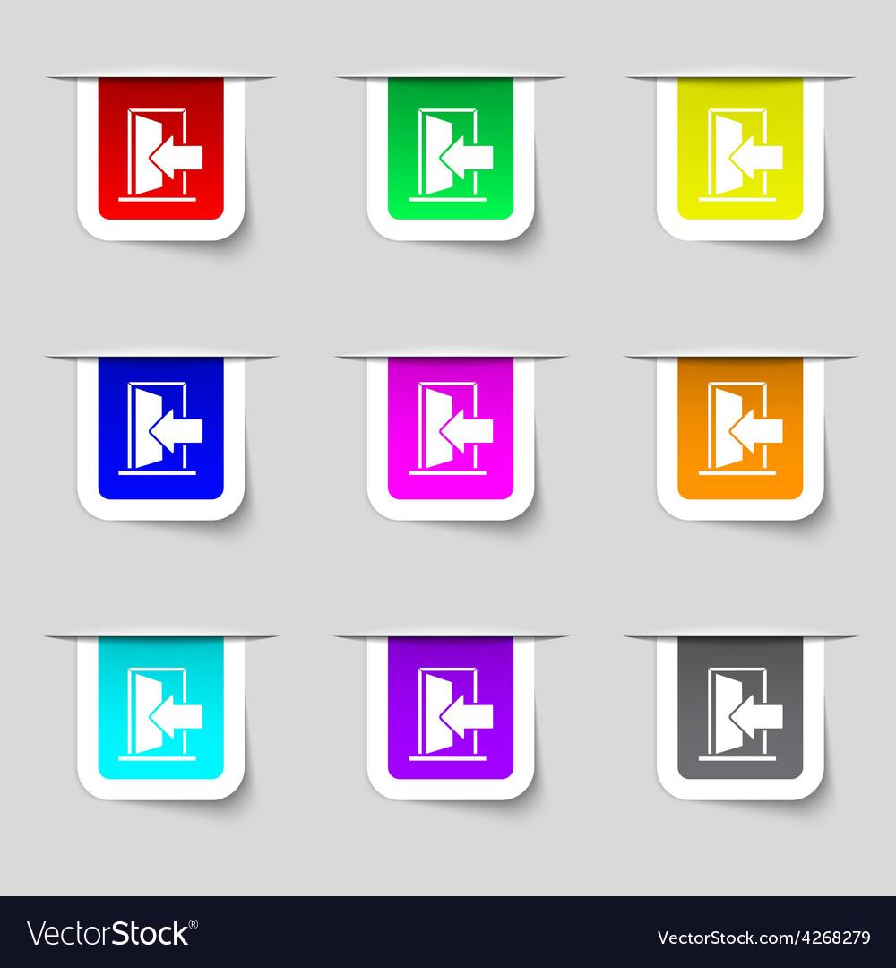 Door enter or exit icon sign set of multicolored vector | Price: 1 Credit (USD $1)